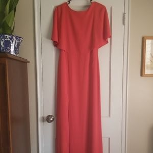 Cape Sleeve High Neck Gown Halston Heritage Red 2